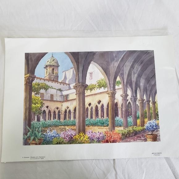 Italy Watercolor Print Sorrento Chiostro Francesco